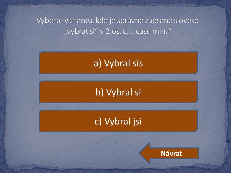 a) Vybral sis b) Vybral si c) Vybral jsi Návrat