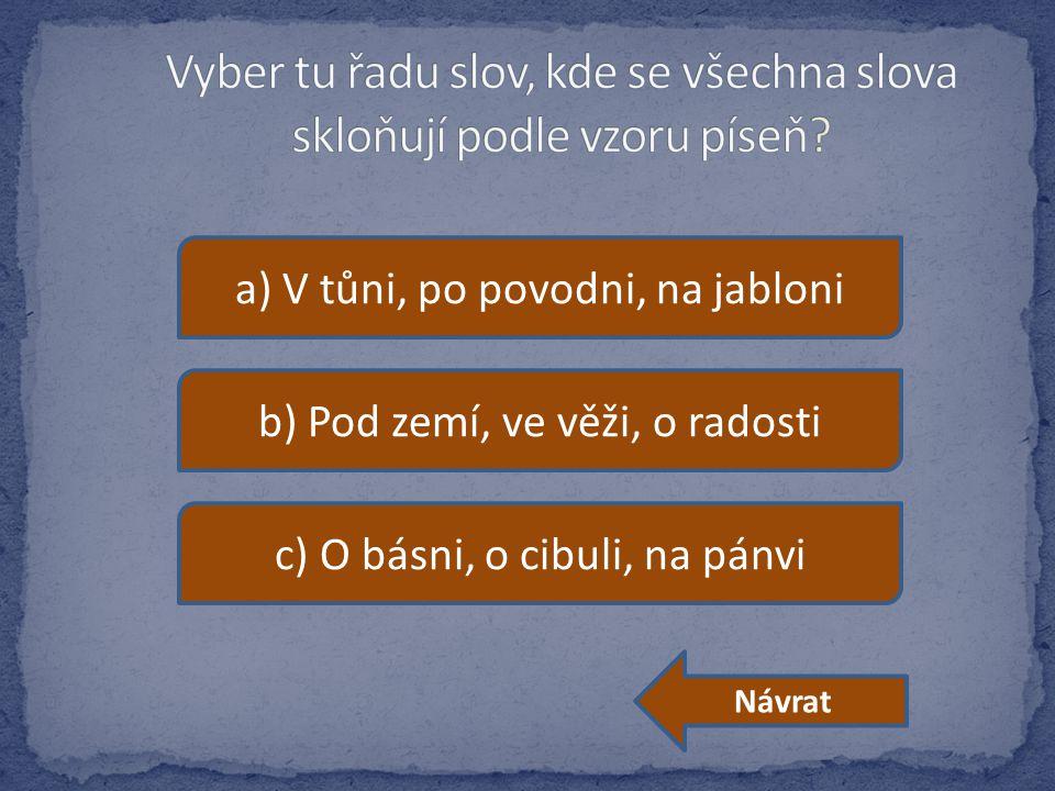 a) V tůni, po povodni, na jabloni b) Pod zemí, ve věži, o radosti c) O básni, o cibuli, na pánvi Návrat