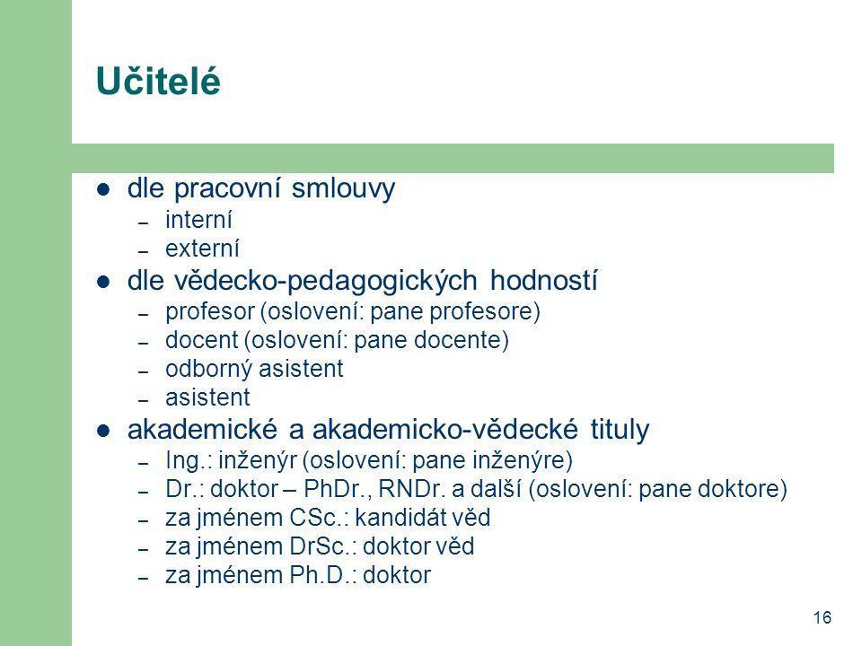16 Učitelé dle pracovní smlouvy – interní – externí dle vědecko-pedagogických hodností – profesor (oslovení: pane profesore) – docent (oslovení: pane
