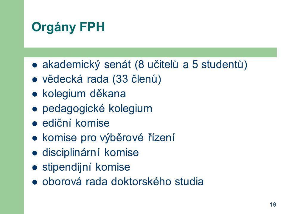19 Orgány FPH akademický senát (8 učitelů a 5 studentů) vědecká rada (33 členů) kolegium děkana pedagogické kolegium ediční komise komise pro výběrové