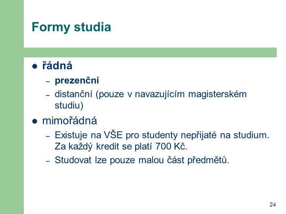 24 Formy studia řádná – prezenční – distanční (pouze v navazujícím magisterském studiu) mimořádná – Existuje na VŠE pro studenty nepřijaté na studium.
