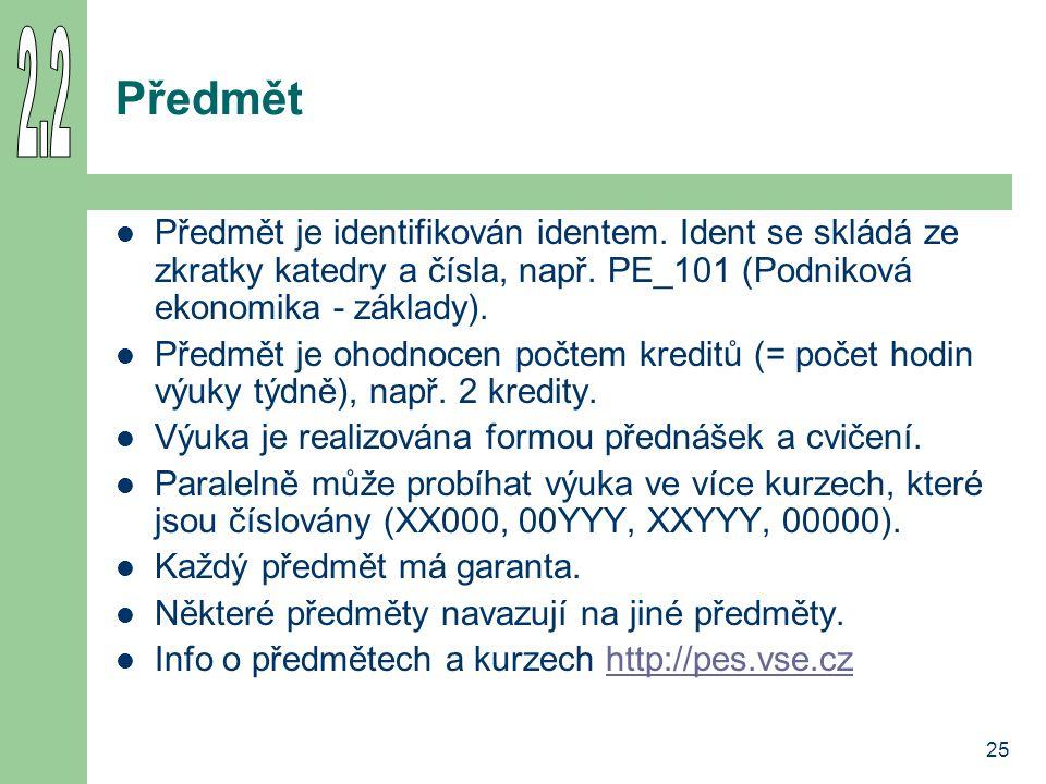 25 Předmět Předmět je identifikován identem. Ident se skládá ze zkratky katedry a čísla, např. PE_101 (Podniková ekonomika - základy). Předmět je ohod
