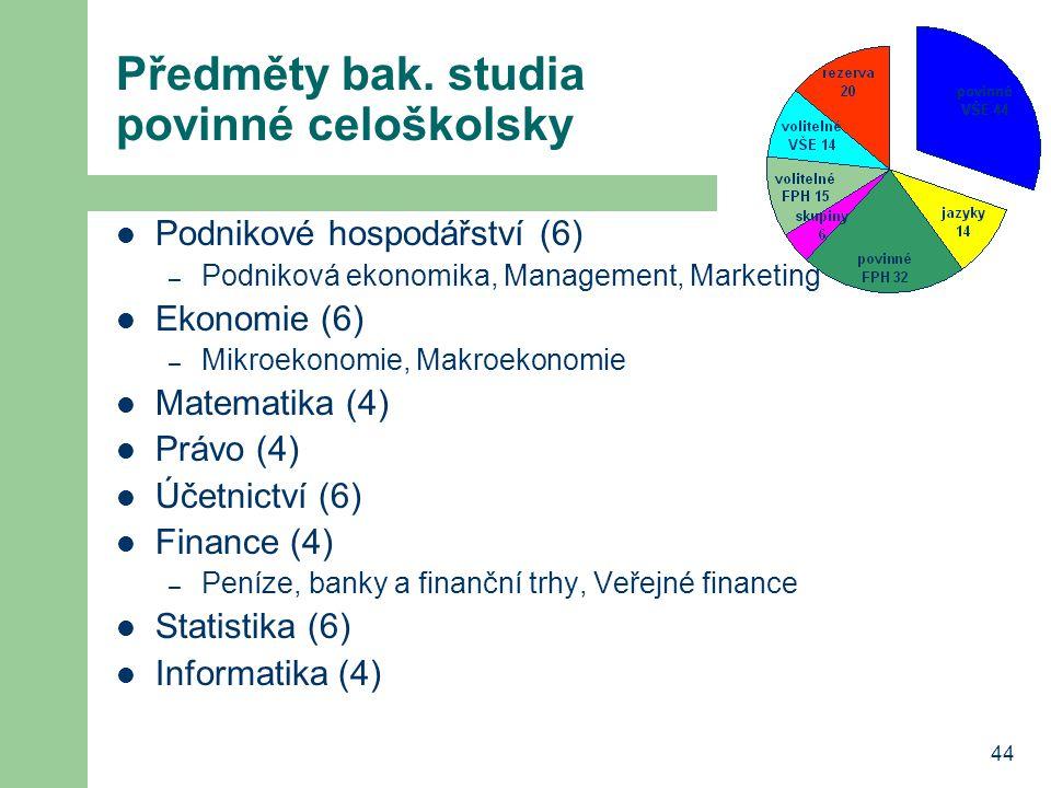 44 Předměty bak. studia povinné celoškolsky Podnikové hospodářství (6) – Podniková ekonomika, Management, Marketing Ekonomie (6) – Mikroekonomie, Makr