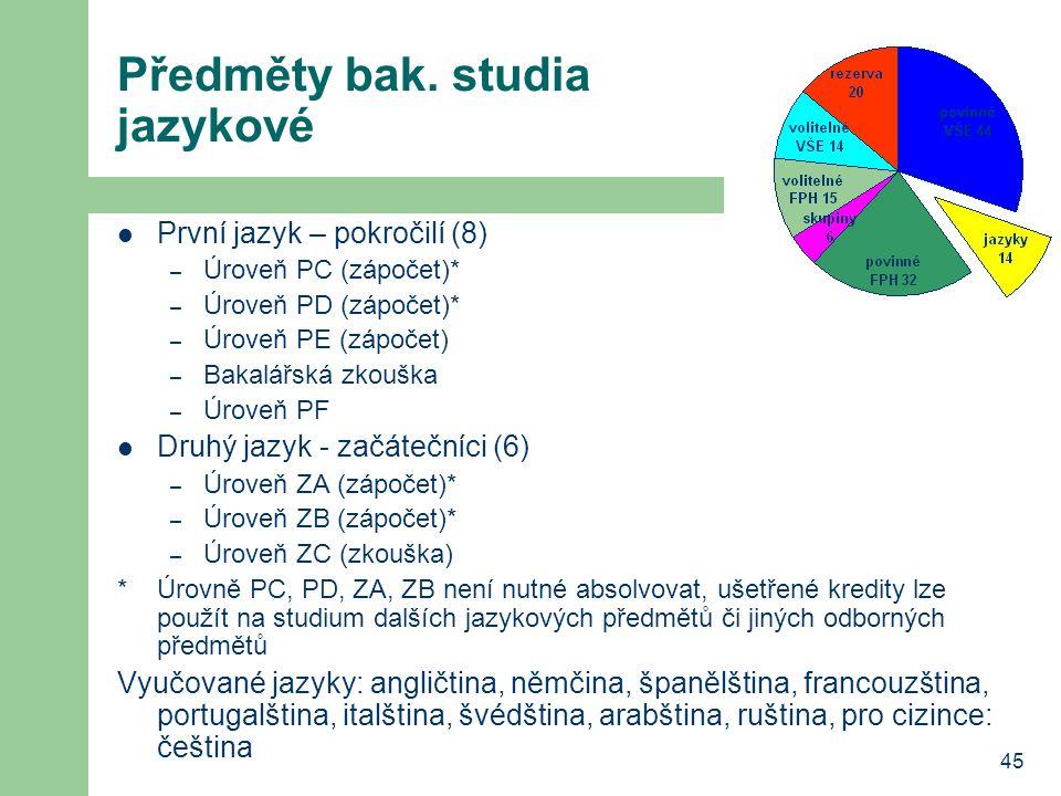 45 Předměty bak. studia jazykové První jazyk – pokročilí (8) – Úroveň PC (zápočet)* – Úroveň PD (zápočet)* – Úroveň PE (zápočet) – Bakalářská zkouška
