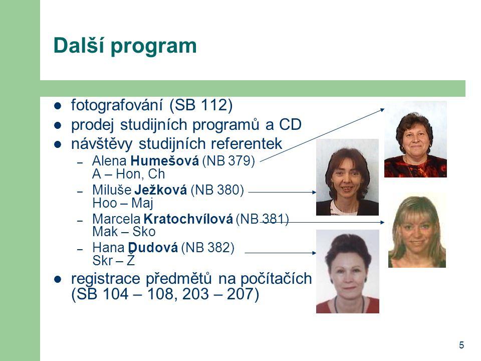 5 Další program fotografování (SB 112) prodej studijních programů a CD návštěvy studijních referentek – Alena Humešová (NB 379) A – Hon, Ch – Miluše J