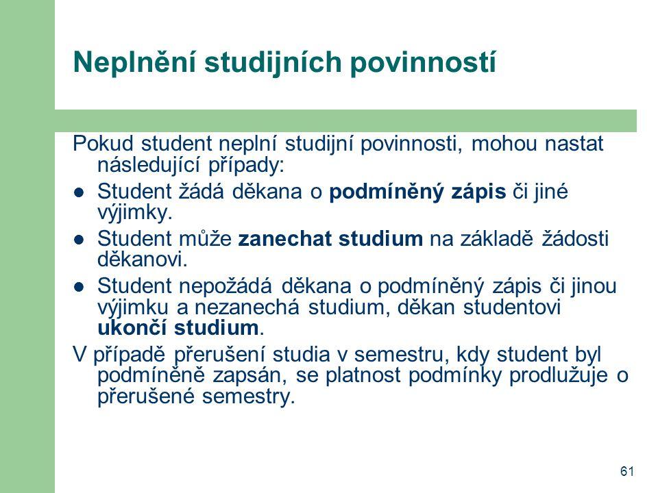 61 Neplnění studijních povinností Pokud student neplní studijní povinnosti, mohou nastat následující případy: Student žádá děkana o podmíněný zápis či
