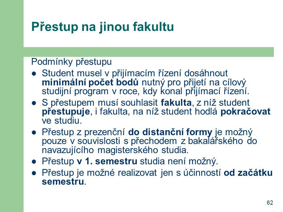 62 Přestup na jinou fakultu Podmínky přestupu Student musel v přijímacím řízení dosáhnout minimální počet bodů nutný pro přijetí na cílový studijní pr