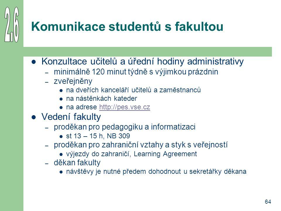 64 Komunikace studentů s fakultou Konzultace učitelů a úřední hodiny administrativy – minimálně 120 minut týdně s výjimkou prázdnin – zveřejněny na dv