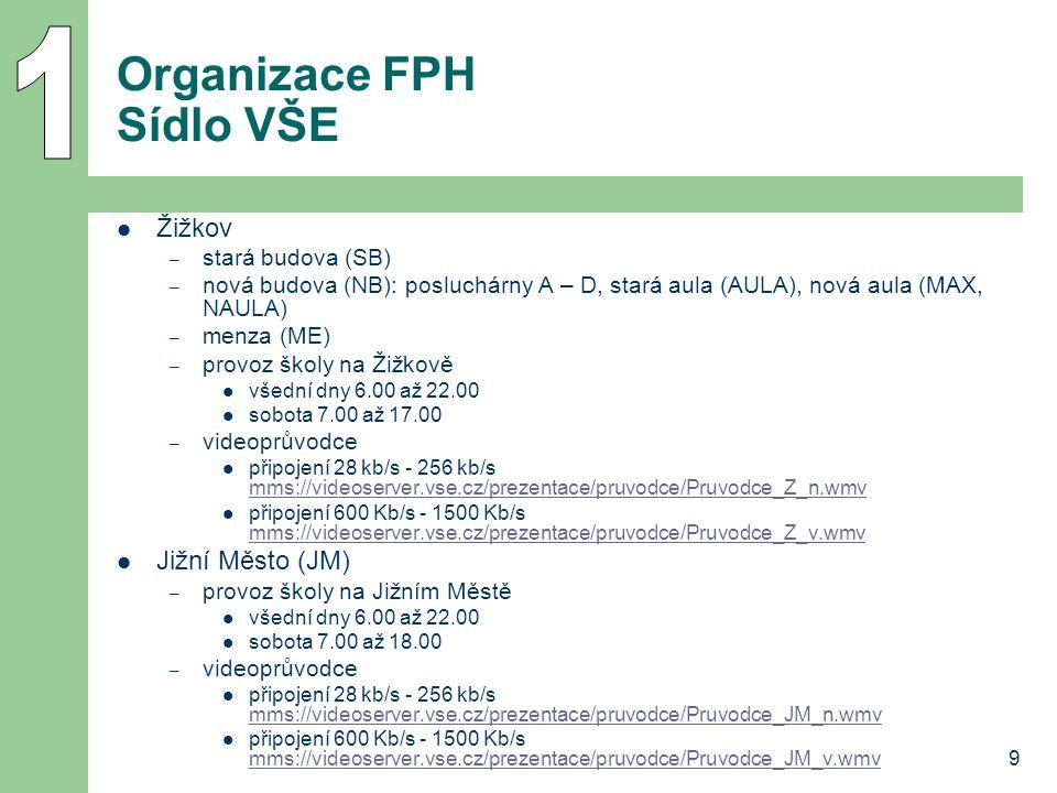 9 Organizace FPH Sídlo VŠE Žižkov – stará budova (SB) – nová budova (NB): posluchárny A – D, stará aula (AULA), nová aula (MAX, NAULA) – menza (ME) –