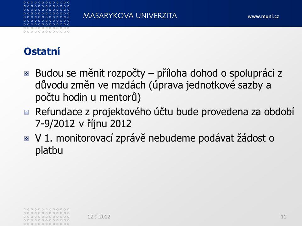 Ostatní Budou se měnit rozpočty – příloha dohod o spolupráci z důvodu změn ve mzdách (úprava jednotkové sazby a počtu hodin u mentorů) Refundace z projektového účtu bude provedena za období 7-9/2012 v říjnu 2012 V 1.