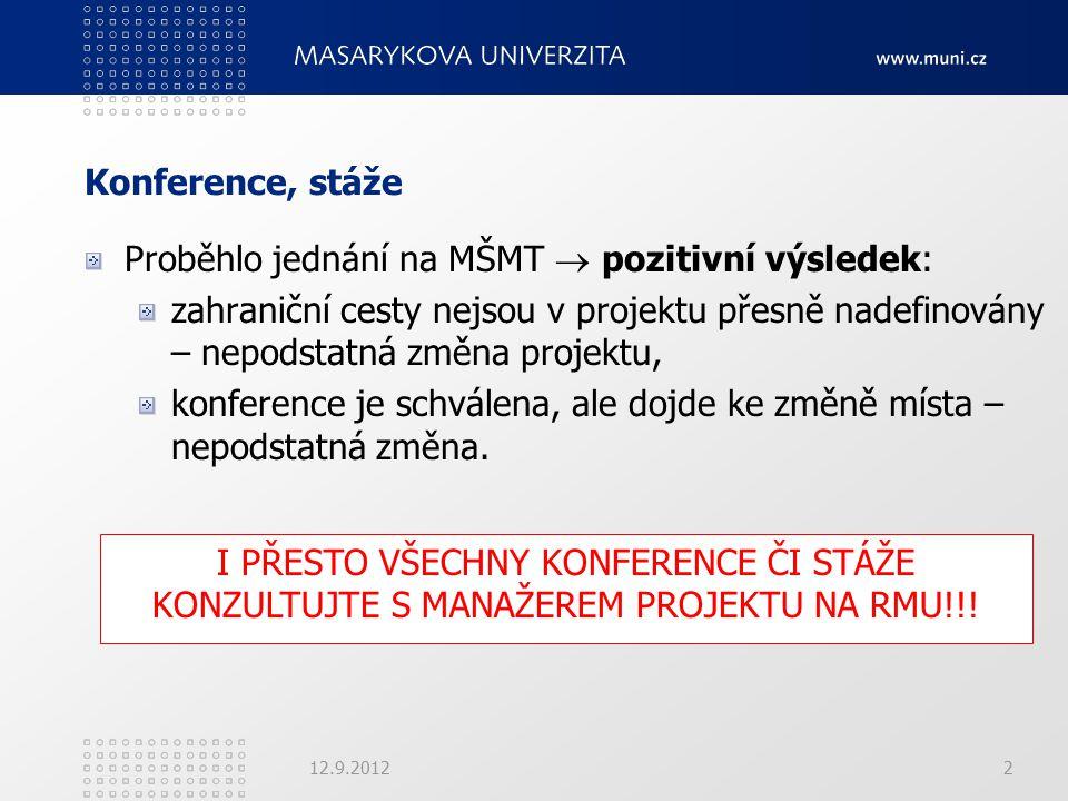 Konference, stáže Proběhlo jednání na MŠMT  pozitivní výsledek: zahraniční cesty nejsou v projektu přesně nadefinovány – nepodstatná změna projektu, konference je schválena, ale dojde ke změně místa – nepodstatná změna.