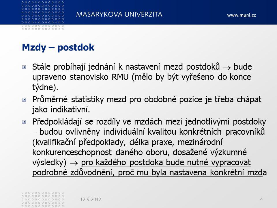 Mzdy – postdok Stále probíhají jednání k nastavení mezd postdoků  bude upraveno stanovisko RMU (mělo by být vyřešeno do konce týdne).