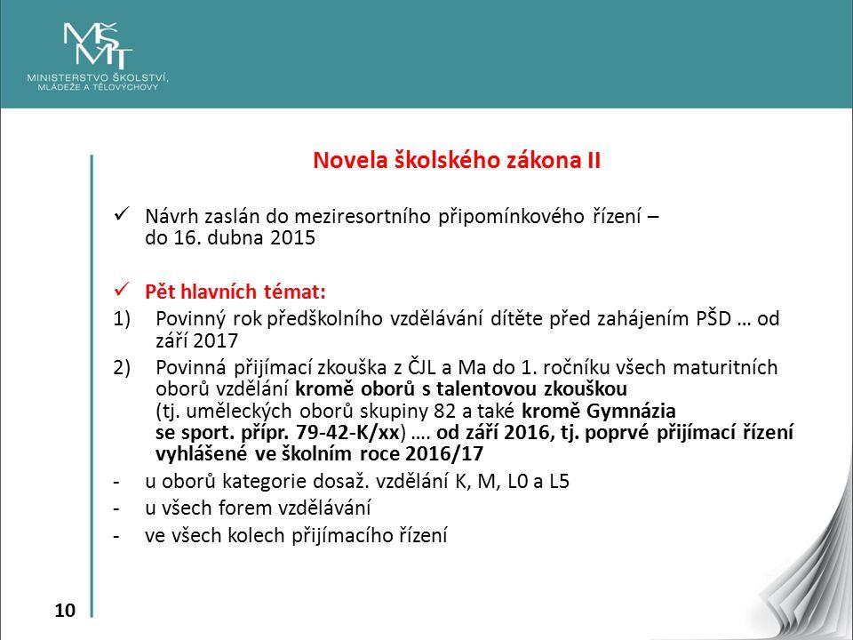 10 Novela školského zákona II Návrh zaslán do meziresortního připomínkového řízení – do 16. dubna 2015 Pět hlavních témat: 1)Povinný rok předškolního