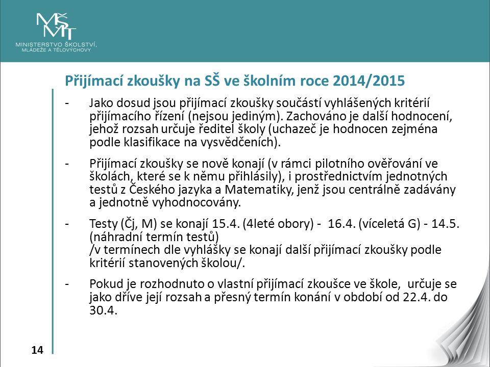 14 Přijímací zkoušky na SŠ ve školním roce 2014/2015 -Jako dosud jsou přijímací zkoušky součástí vyhlášených kritérií přijímacího řízení (nejsou jediným).