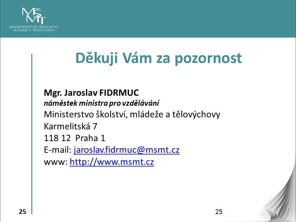 25 Mgr. Jaroslav FIDRMUC náměstek ministra pro vzdělávání Ministerstvo školství, mládeže a tělovýchovy Karmelitská 7 118 12 Praha 1 E-mail: jaroslav.f