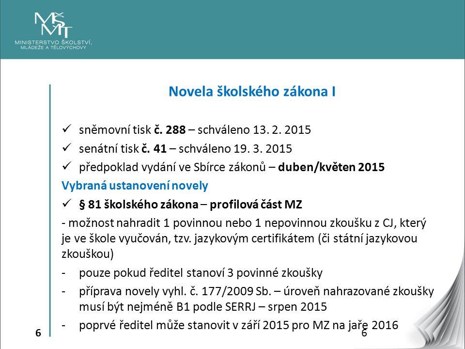 6 Novela školského zákona I sněmovní tisk č.288 – schváleno 13.
