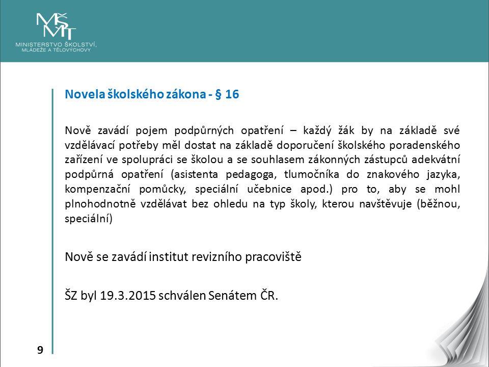9 Novela školského zákona - § 16 Nově zavádí pojem podpůrných opatření – každý žák by na základě své vzdělávací potřeby měl dostat na základě doporuče