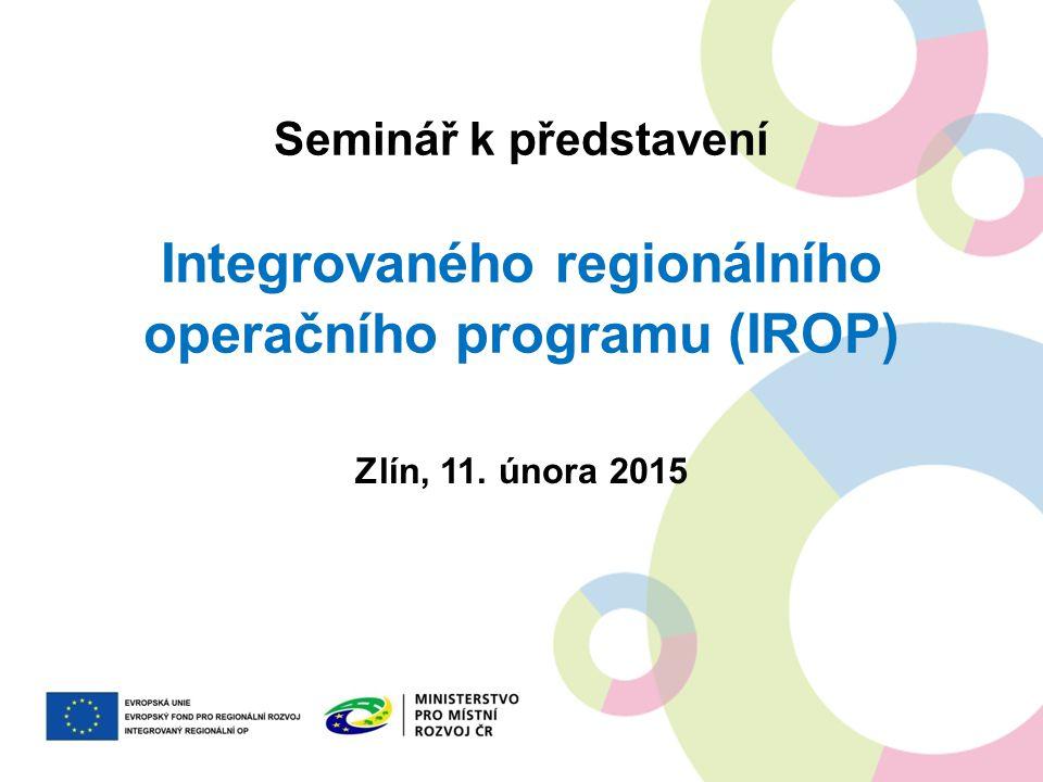 DĚKUJEME VÁM ZA POZORNOST prezentace a dokumenty v ní zmíněné jsou ke stažení na http://www.strukturalni-fondy.cz/irop v případě dotazů nás kontaktujte na irop@mmr.cz