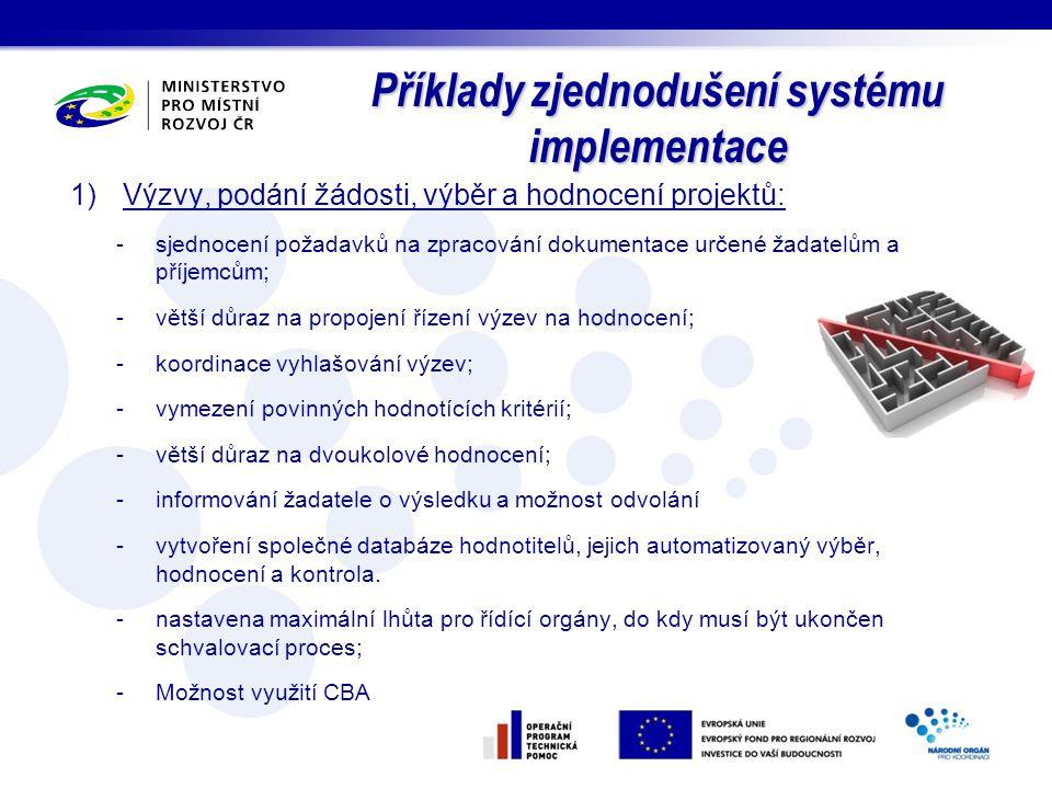 Příklady zjednodušení systému implementace 1)Výzvy, podání žádosti, výběr a hodnocení projektů: -sjednocení požadavků na zpracování dokumentace určené
