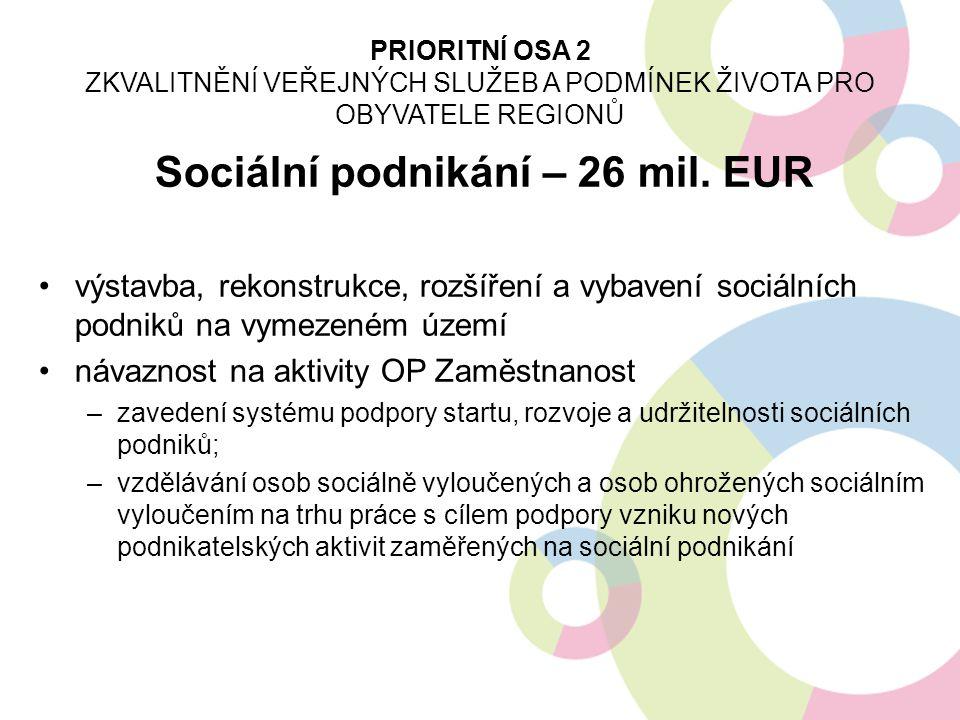Sociální podnikání – 26 mil. EUR výstavba, rekonstrukce, rozšíření a vybavení sociálních podniků na vymezeném území návaznost na aktivity OP Zaměstnan