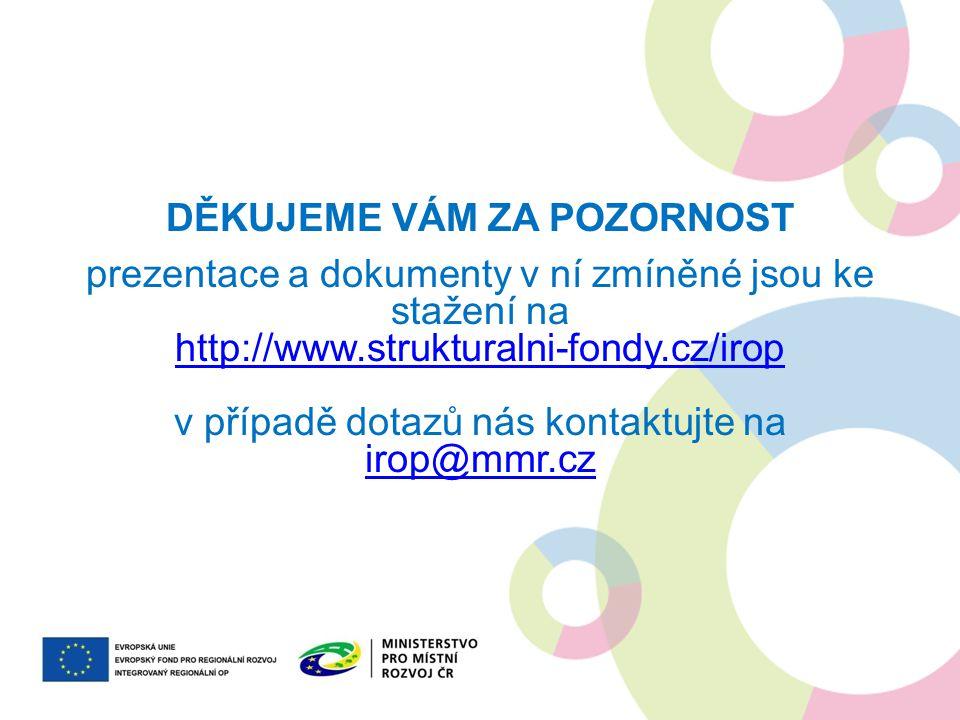 DĚKUJEME VÁM ZA POZORNOST prezentace a dokumenty v ní zmíněné jsou ke stažení na http://www.strukturalni-fondy.cz/irop v případě dotazů nás kontaktujt