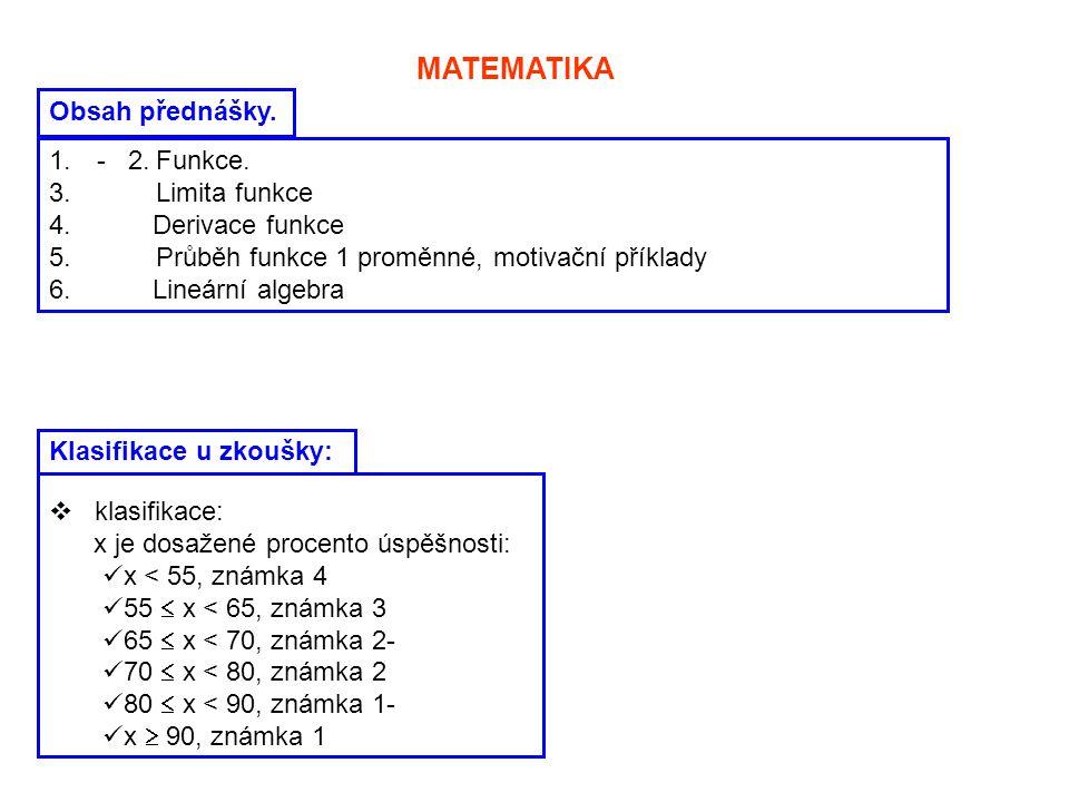 MATEMATIKA Obsah přednášky. 1. - 2.Funkce. 3. Limita funkce 4. Derivace funkce 5. Průběh funkce 1 proměnné, motivační příklady 6. Lineární algebra Kla