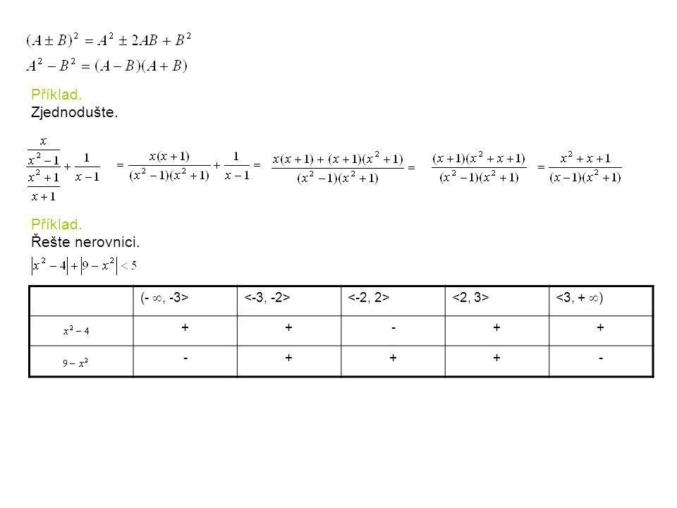 Příklad. Zjednodušte. Příklad. Řešte nerovnici. (- , -3> <3, +  ) ++-++ -+++-