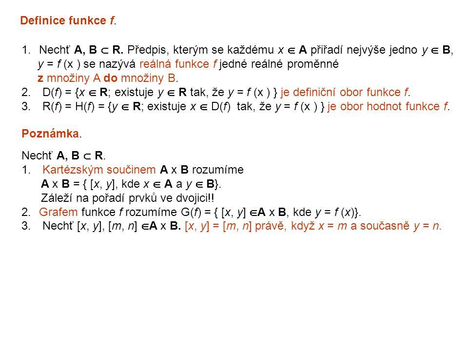 Definice funkce f. 1.Nechť A, B  R. Předpis, kterým se každému x  A přiřadí nejvýše jedno y  B, y = f (x ) se nazývá reálná funkce f jedné reálné p