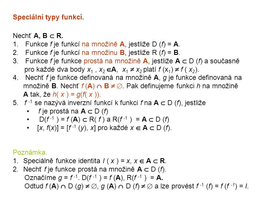 Speciální typy funkcí. Nechť A, B  R. 1. Funkce f je funkcí na množině A, jestliže D (f) = A. 2. Funkce f je funkcí na množinu B, jestliže R (f) = B.