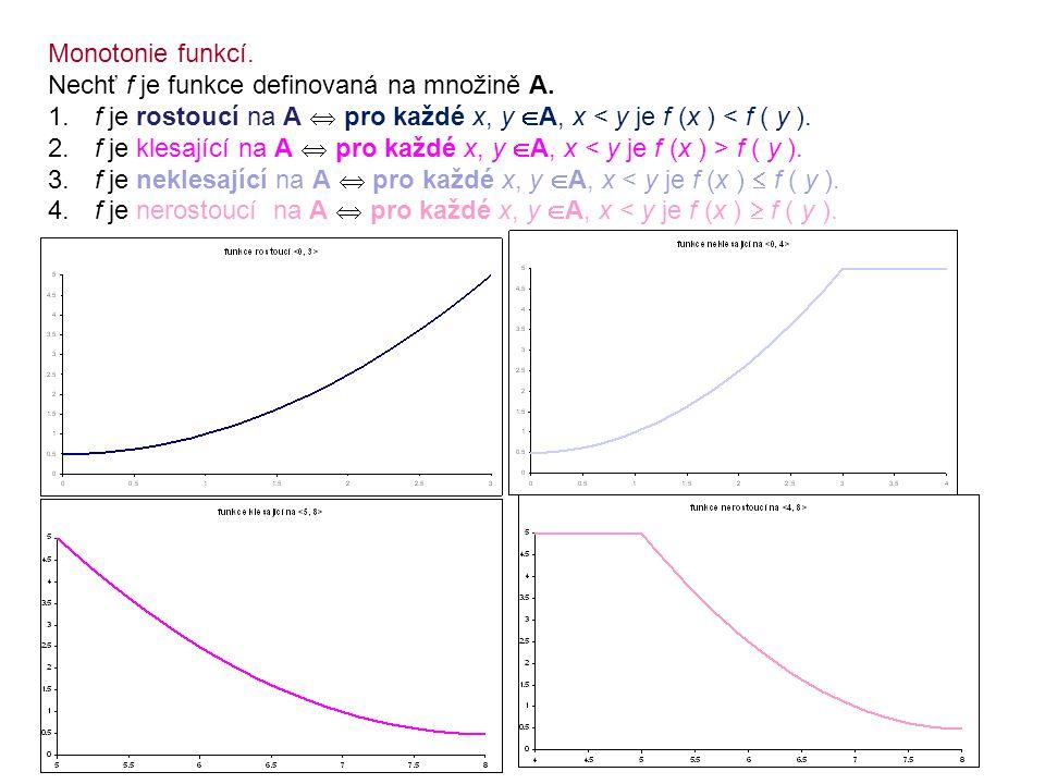 Monotonie funkcí. Nechť f je funkce definovaná na množině A. 1. f je rostoucí na A  pro každé x, y  A, x < y je f (x ) < f ( y ). 2. f je klesající