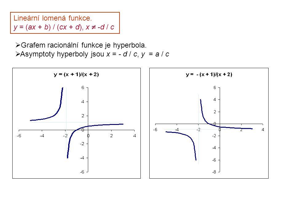 Lineární lomená funkce. y = (ax + b) / (cx + d), x  -d / c  Grafem racionální funkce je hyperbola.  Asymptoty hyperboly jsou x = - d / c, y = a / c
