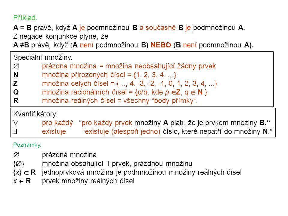 Speciální množiny.  prázdná množina = množina neobsahující žádný prvek Nmnožina přirozených čísel = {1, 2, 3, 4,...} Zmnožina celých čísel = {...,-4,