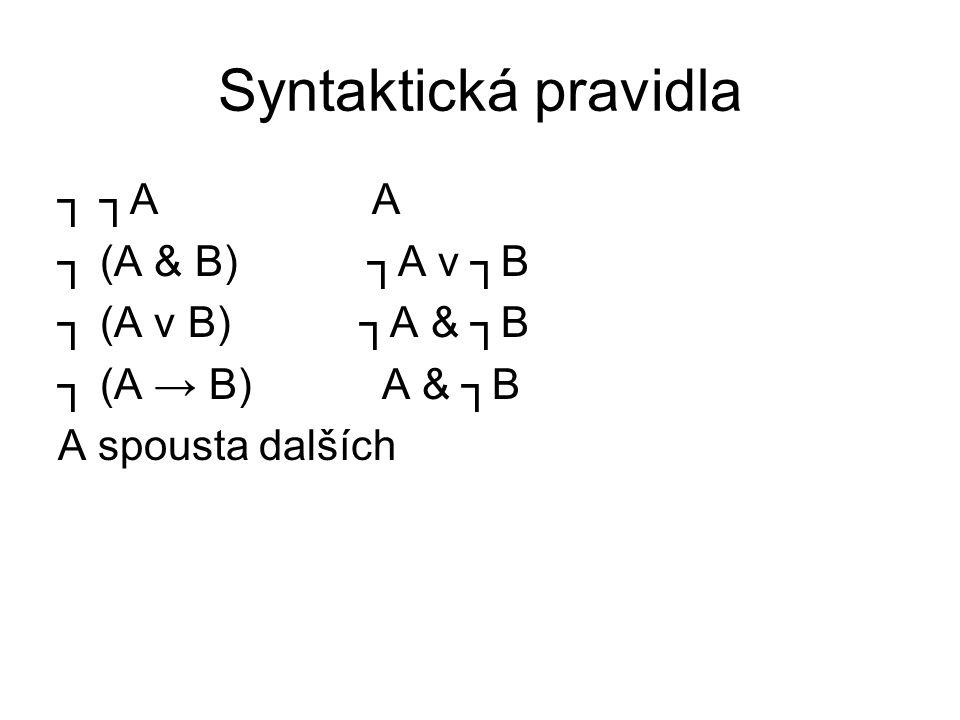 Syntaktická pravidla ┐ ┐A A ┐ (A & B) ┐A v ┐B ┐ (A v B) ┐A & ┐B ┐ (A → B) A & ┐B A spousta dalších