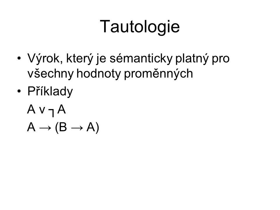 Tautologie Výrok, který je sémanticky platný pro všechny hodnoty proměnných Příklady A v ┐A A → (B → A)