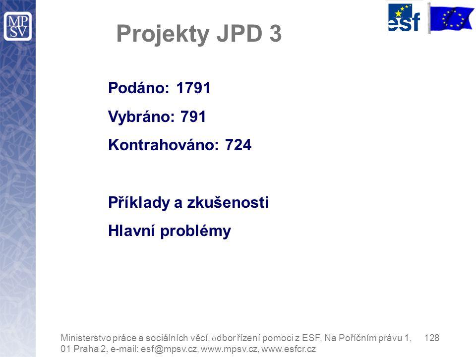 Projekty JPD 3 Podáno: 1791 Vybráno: 791 Kontrahováno: 724 Příklady a zkušenosti Hlavní problémy