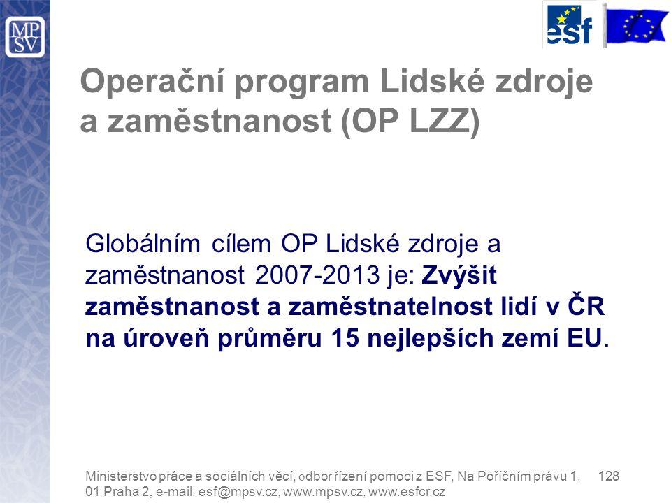 Operační program Lidské zdroje a zaměstnanost (OP LZZ) Globálním cílem OP Lidské zdroje a zaměstnanost 2007-2013 je: Zvýšit zaměstnanost a zaměstnatelnost lidí v ČR na úroveň průměru 15 nejlepších zemí EU.