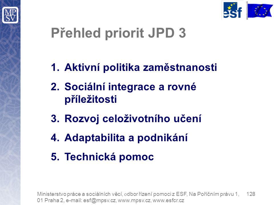 Přehled priorit JPD 3 1.Aktivní politika zaměstnanosti 2.Sociální integrace a rovné příležitosti 3.Rozvoj celoživotního učení 4.Adaptabilita a podnikání 5.Technická pomoc