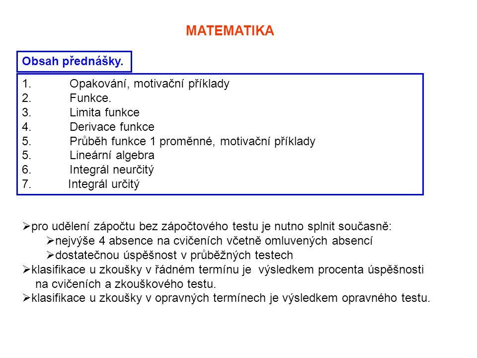 MATEMATIKA Obsah přednášky. 1. Opakování, motivační příklady 2.Funkce. 3. Limita funkce 4. Derivace funkce 5. Průběh funkce 1 proměnné, motivační přík
