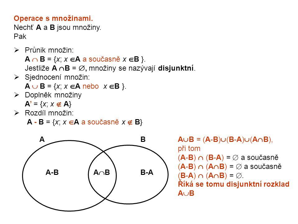 Operace s množinami. Nechť A a B jsou množiny. Pak  Průnik množin: A  B = {x; x  A a současně x  B }. Jestliže A  B = , množiny se nazývají disj