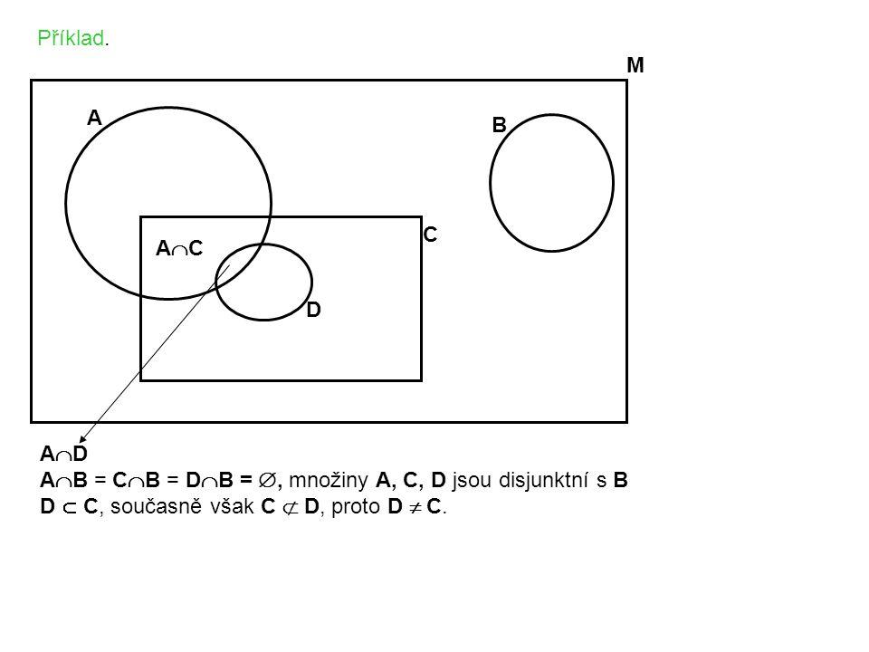 Příklad. M A B C D ACAC A  D A  B = C  B = D  B = , množiny A, C, D jsou disjunktní s B D  C, současně však C  D, proto D  C.