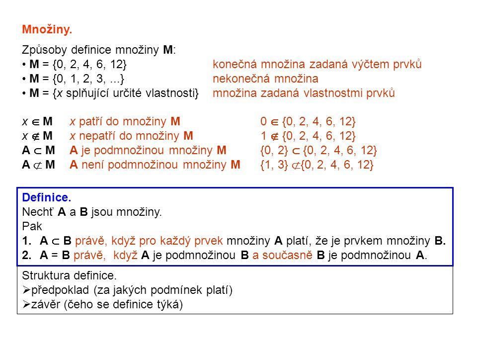 Způsoby definice množiny M: M = {0, 2, 4, 6, 12}konečná množina zadaná výčtem prvků M = {0, 1, 2, 3,...}nekonečná množina M = {x splňující určité vlas