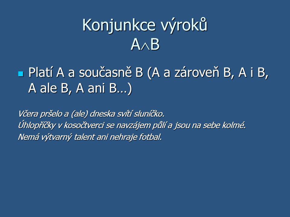 Konjunkce výroků A  B Platí A a současně B (A a zároveň B, A i B, A ale B, A ani B…) Platí A a současně B (A a zároveň B, A i B, A ale B, A ani B…) V