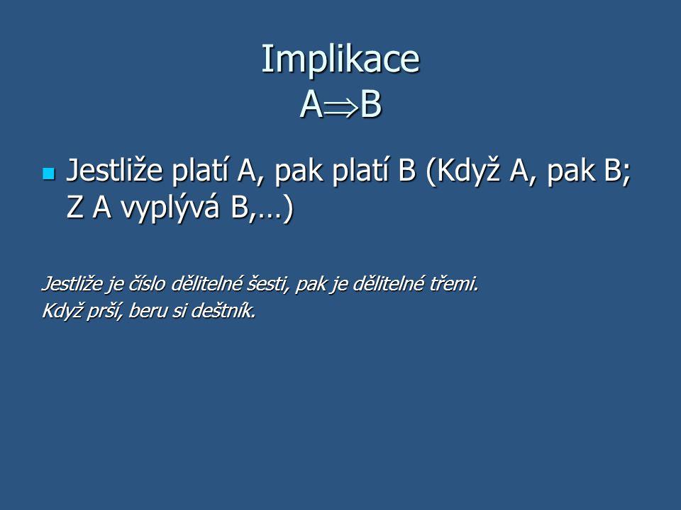 Ekvivalence A  B Výrok A platí právě tehdy, když platí výrok B (A je ekvivalentní s B; A platí tehdy a jen tehdy když B) Výrok A platí právě tehdy, když platí výrok B (A je ekvivalentní s B; A platí tehdy a jen tehdy když B) Číslo je dělitelné třemi právě tehdy, když jeho ciferný součet je dělitelný třemi.