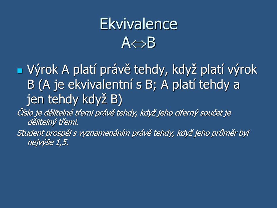 Ekvivalence A  B Výrok A platí právě tehdy, když platí výrok B (A je ekvivalentní s B; A platí tehdy a jen tehdy když B) Výrok A platí právě tehdy, k