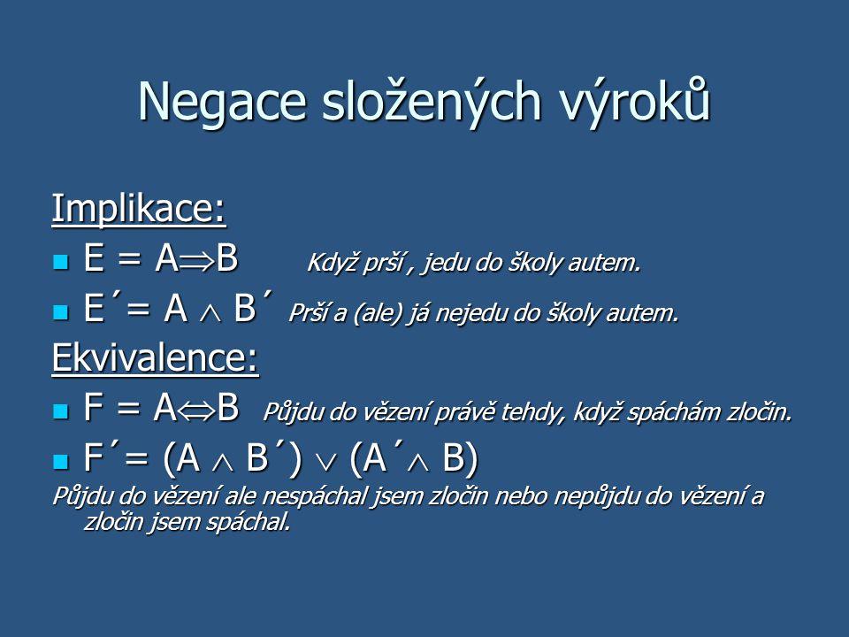 Negace složených výroků Implikace: E = A  B Když prší, jedu do školy autem. E = A  B Když prší, jedu do školy autem. E´= A  B´ Prší a (ale) já neje