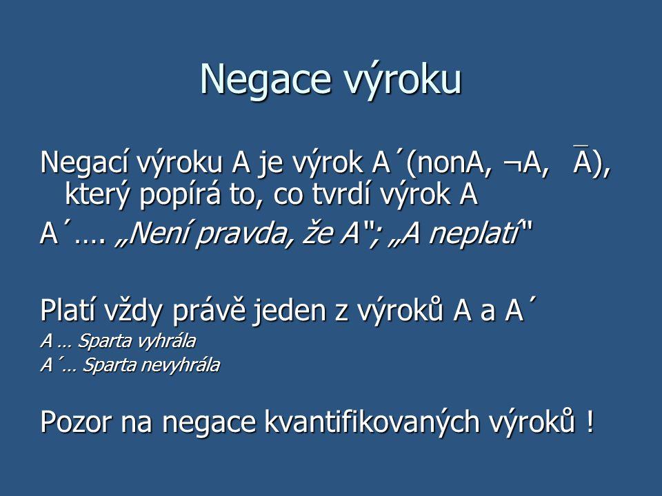 """Negace výroku Negací výroku A je výrok A´(nonA, ¬A,  A), který popírá to, co tvrdí výrok A A´…. """"Není pravda, že A""""; """"A neplatí"""" Platí vždy právě jed"""