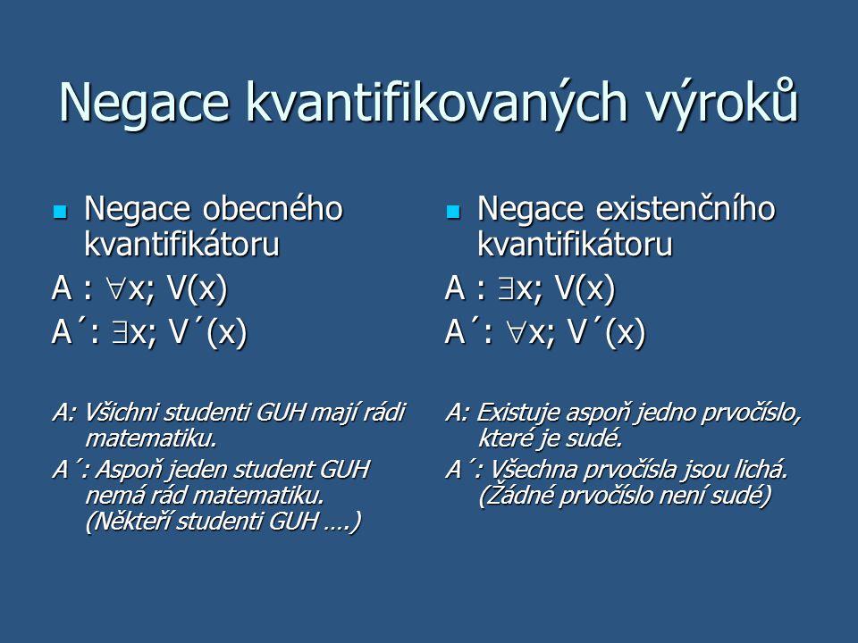 Negace kvantifikovaných výroků Negace obecného kvantifikátoru Negace obecného kvantifikátoru A :  x; V(x) A´:  x; V´(x) A: Všichni studenti GUH mají