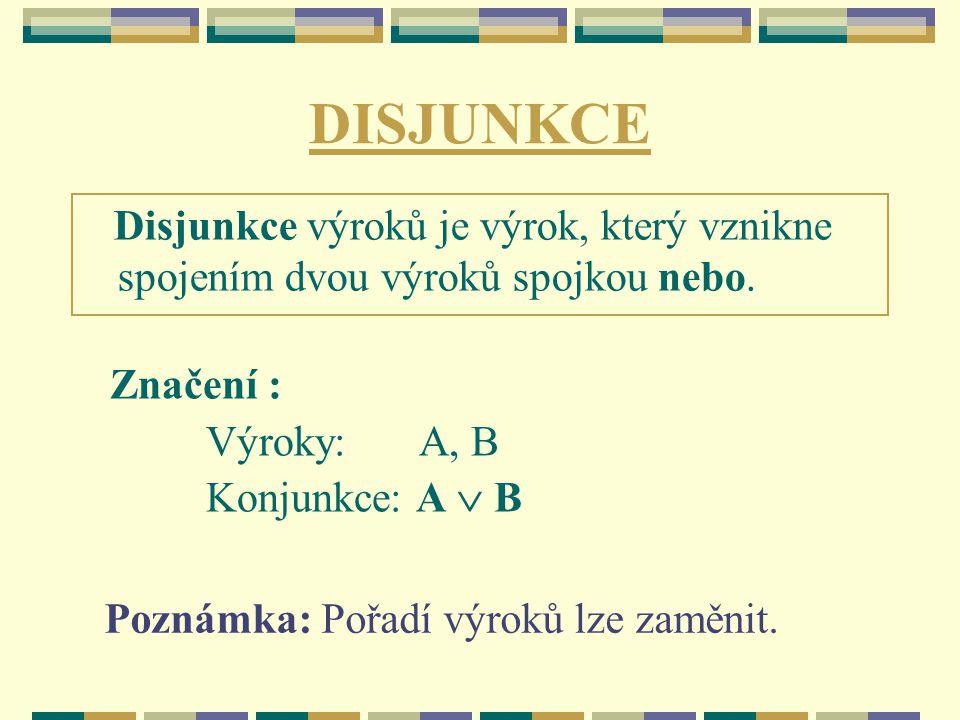 DISJUNKCE Značení : Výroky: A, B Konjunkce: A  B Poznámka: Pořadí výroků lze zaměnit. Disjunkce výroků je výrok, který vznikne spojením dvou výroků s