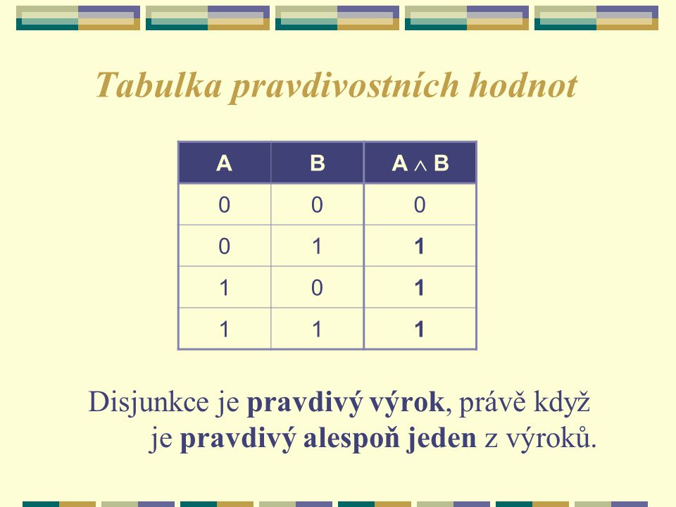 Tabulka pravdivostních hodnot Disjunkce je pravdivý výrok, právě když je pravdivý alespoň jeden z výroků. AB A  B 000 011 101 111