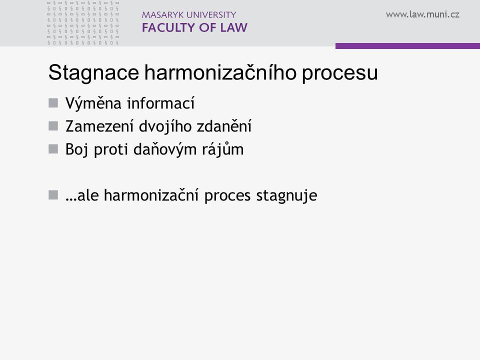 www.law.muni.cz Stagnace harmonizačního procesu Výměna informací Zamezení dvojího zdanění Boj proti daňovým rájům …ale harmonizační proces stagnuje